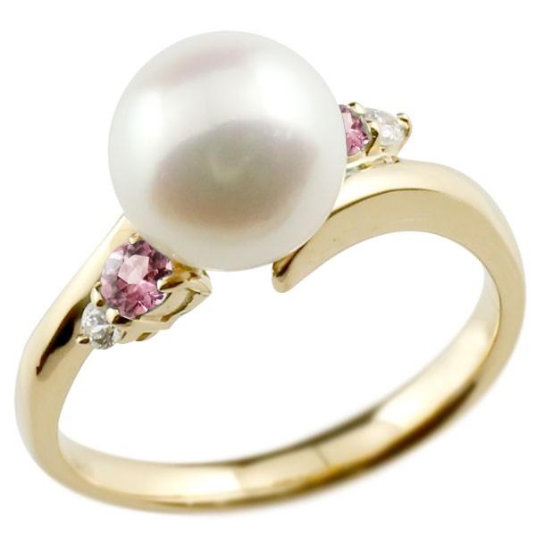 真珠 指輪 パール イエローゴールドk18 ピンクトルマリン ダイヤモンド リング ピンキーリング 本真珠 ダイヤ 18金 18k レディース【コンビニ受取対応商品】 大きいサイズ対応 送料無料