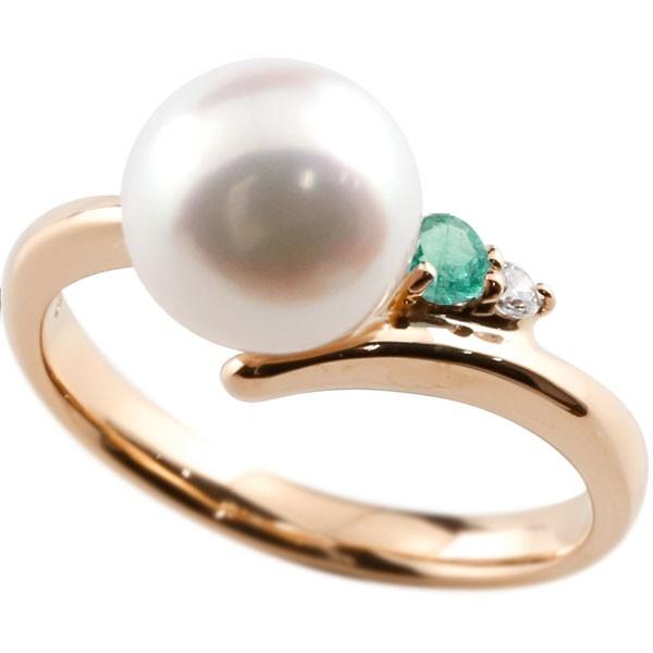 真珠 指輪 パール エメラルド ダイヤモンド リング ピンクゴールドk18 ピンキーリング 本真珠 ダイヤ 18金 18k レディース【コンビニ受取対応商品】 大きいサイズ対応 送料無料