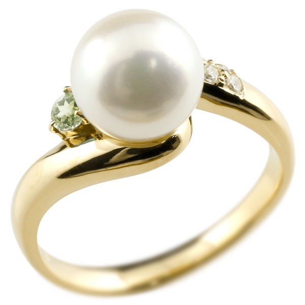 真珠 指輪 パール ペリドット ダイヤモンド リング イエローゴールドk18 18金 18k ピンキーリング 本真珠 ダイヤ レディース 05P23Apr16【コンビニ受取対応商品】 大きいサイズ対応 送料無料