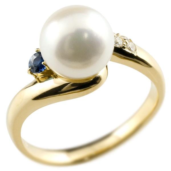 真珠 指輪 パール サファイア ダイヤモンド リング イエローゴールドk18 18金 18k ピンキーリング 本真珠 ダイヤ レディース【コンビニ受取対応商品】 大きいサイズ対応 送料無料