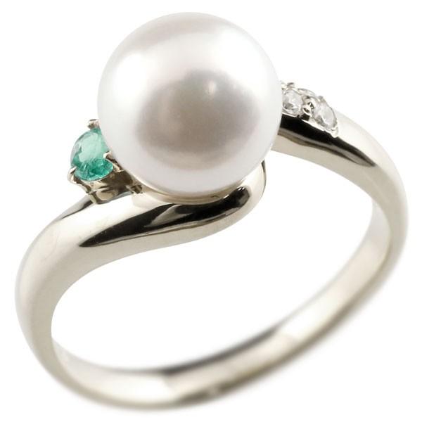 真珠 指輪 パール プラチナ900 エメラルド ダイヤモンド リング ピンキーリング 本真珠 ダイヤ レディース【コンビニ受取対応商品】 大きいサイズ対応 送料無料