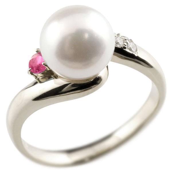 真珠 指輪 パール プラチナ900 ルビー ダイヤモンド リング ピンキーリング 本真珠 ダイヤ レディース【コンビニ受取対応商品】 大きいサイズ対応 送料無料