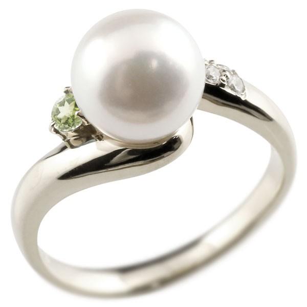 2021公式店舗 真珠 指輪 パール ペリドット ダイヤモンド リング ホワイトゴールドk18 18金 18k ピンキーリング 本真珠 ダイヤ レディース【】【コンビニ受取対応商品】 大きいサイズ対応 送料無料, 花と緑のはなここ bc186466