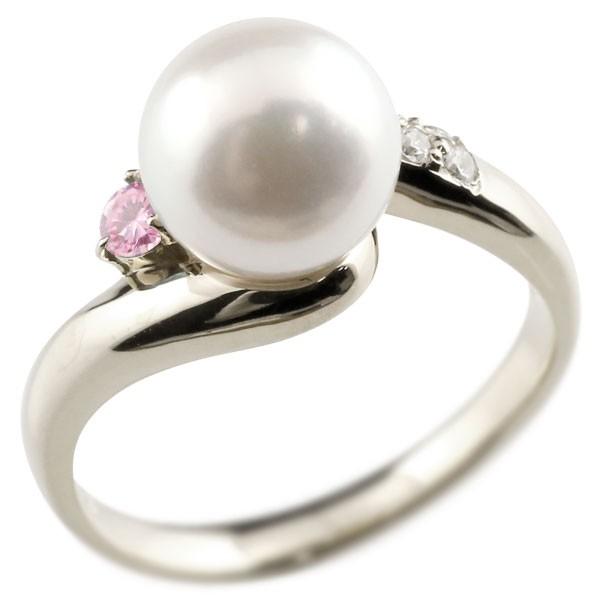真珠 指輪 パール ピンクサファイア ダイヤモンド リング ホワイトゴールドk18 18金 18k ピンキーリング 本真珠 ダイヤ レディース【コンビニ受取対応商品】 大きいサイズ対応 送料無料