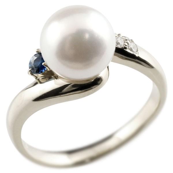 真珠 指輪 パール サファイア ダイヤモンド リング ホワイトゴールドk18 18金 18k ピンキーリング 本真珠 ダイヤ レディース【コンビニ受取対応商品】 大きいサイズ対応 送料無料
