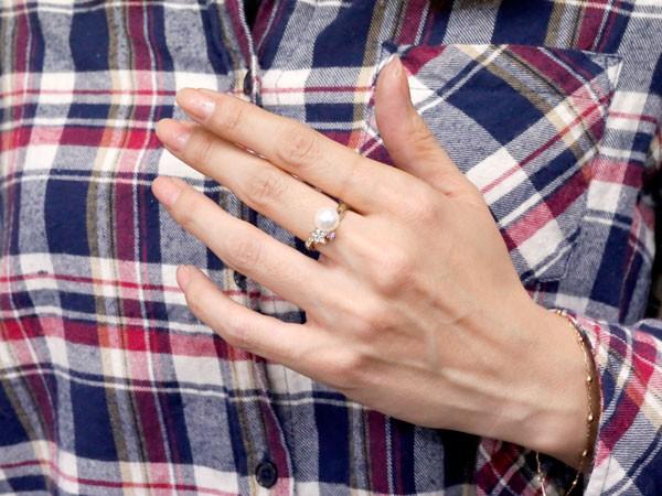 []真珠 指輪 パール ピンクサファイア ダイヤモンド リング 星 スター ホワイトゴールドk18 18金 18k ピンキーリング 本真珠 ダイヤ レディース【楽ギフ_包装】【コンビニ受取対応商品】