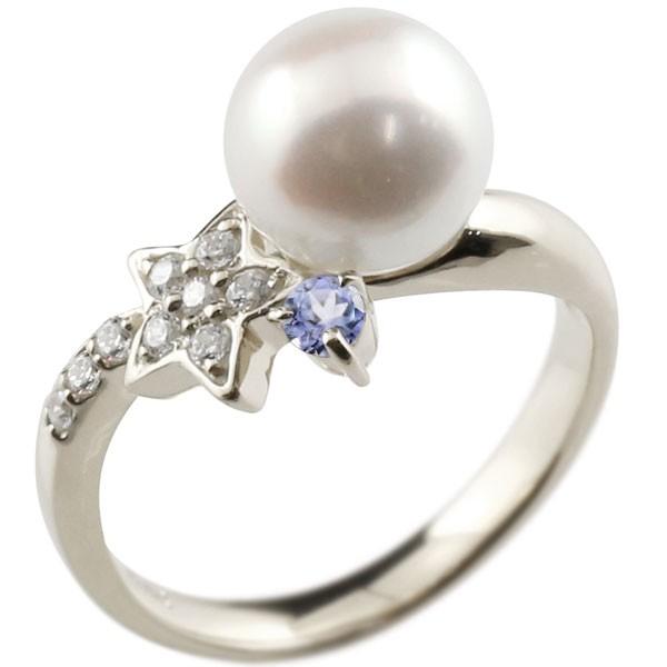 真珠 指輪 パール プラチナ900 タンザナイト ダイヤモンド リング 星 スター ピンキーリング 本真珠 ダイヤ レディース【コンビニ受取対応商品】 大きいサイズ対応 送料無料