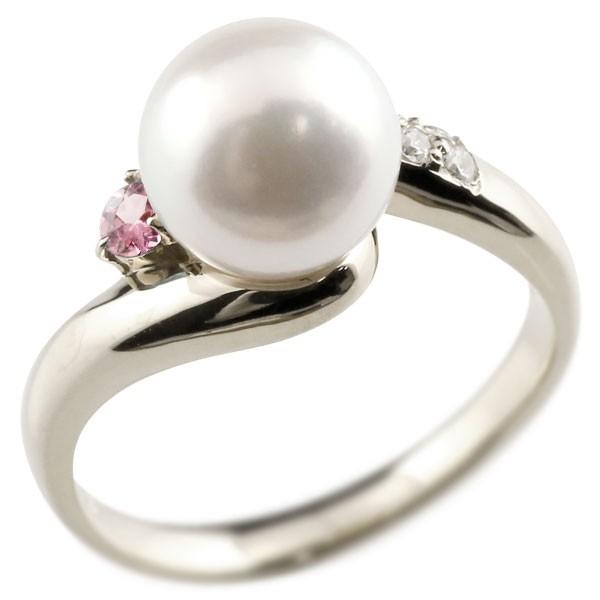 真珠 指輪 パール プラチナ900 ピンクトルマリン ダイヤモンド リング ピンキーリング 本真珠 ダイヤ レディース【コンビニ受取対応商品】 大きいサイズ対応 送料無料