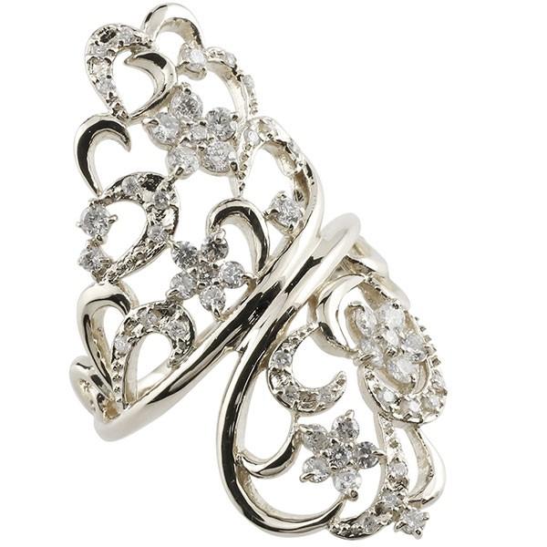 ダイヤモンドリング 花 フラワー 18金 指輪 ホワイトゴールドk18 18k リング 幅広 ダイヤモンド 透かし 人差し指 リング 中指 リング レディース【コンビニ受取対応商品】 大きいサイズ対応 送料無料