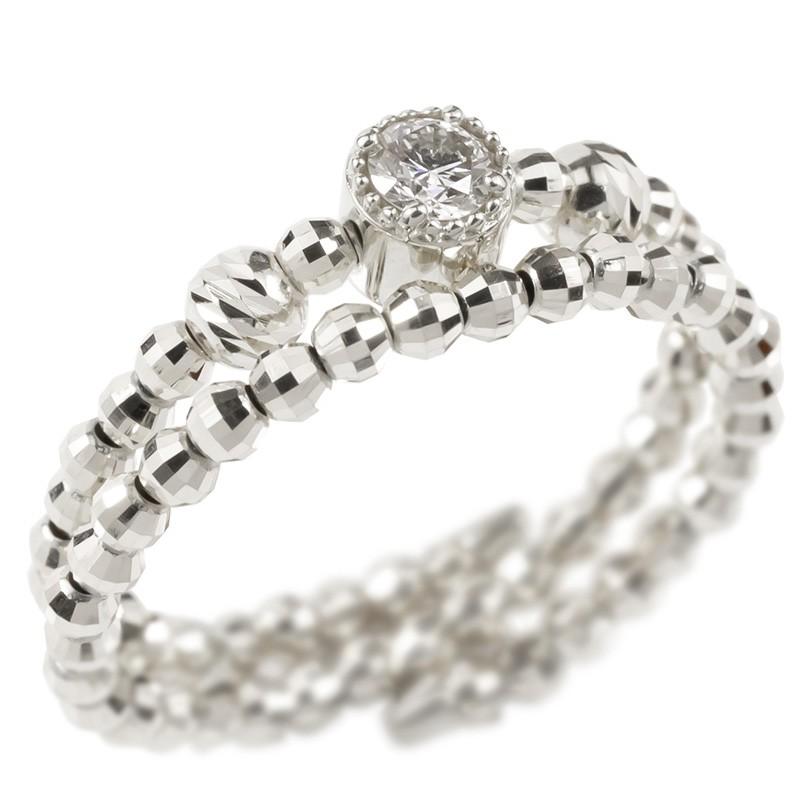 [あす楽]18金 リング フリーサイズ リング ダイヤモンド 2連 指輪 ホワイトゴールドk18 18k 形状記憶 レディース【コンビニ受取対応商品】 大きいサイズ対応 送料無料