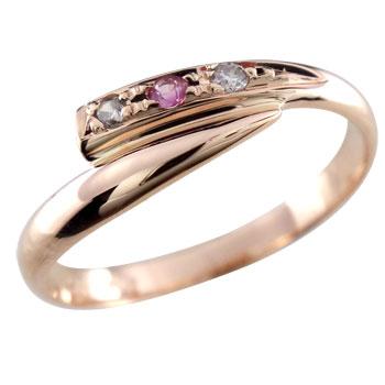 ピンキーリングダイヤモンド リングダイヤモンド 0.02ctピンクサファイア指輪 ダイヤ 9月誕生石【コンビニ受取対応商品】 大きいサイズ対応 送料無料