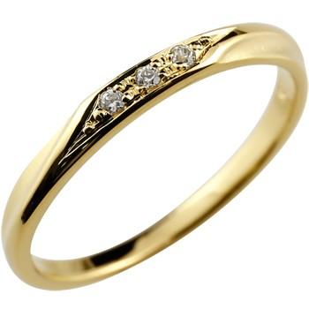 シンプルリング ダイヤモンド リング ピンキーリング イエローゴールドk18 指輪 華奢リング 重ね付けリング 指輪 細め 細身 18k 18金 つや消し レディース アンティーク0824カード分割【コンビニ受取対応商品】 大きいサイズ対応 送料無料