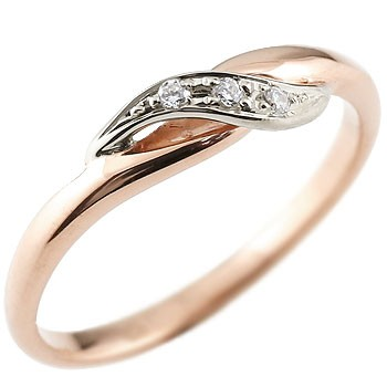 [送料無料] 婚約指輪 エンゲージリング ダイヤモンド ピンキーリング ピンクゴールドk18 プラチナ ダイヤ コンビリング 18金 ストレート 指輪 レディース 18k 18金【コンビニ受取対応商品】