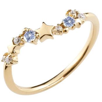 星 スター リング イエローゴールドk18 18金 18k タンザナイト ダイヤモンド 12月誕生石 ピンキーリング 流れ星 リング 指輪 重ね付け 華奢 細め 細身 レディース【コンビニ受取対応商品】 大きいサイズ対応 送料無料