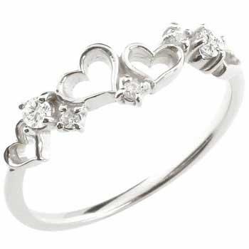 [送料無料オープンハート リング プラチナ ダイヤモンド 4月誕生石 ピンキーリング リング 指輪 重ね付け 華奢 細め 細身 かわいい キュート レディース【コンビニ受取対応商品】 大きいサイズ対応 送料無料