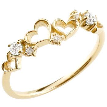 [送料無料]ダイヤモンド リング イエローゴールドk18 オープンハート リング ピンキーリング 18金 18k 指輪 重ね付け 華奢 細め 細身 かわいい キュート 4月誕生石 レディース【コンビニ受取対応商品】 大きいサイズ対応 送料無料