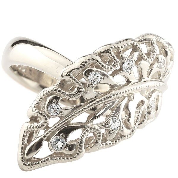 アンティーク 透かし リング 指輪 ダイヤモンド リング ホワイトゴールドk18 葉 リーフ はっぱ ダイヤモンドリング ダイヤ ピンキーリング ミル打ち 幅広 レディース【コンビニ受取対応商品】 大きいサイズ対応 送料無料