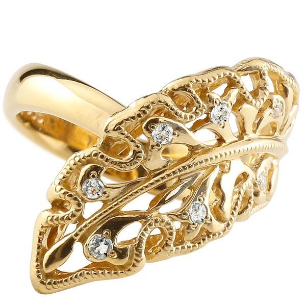 [送料無料] 葉 リーフ はっぱ 指輪 ダイヤモンド リング 婚約指輪 エンゲージリング アンティーク 透かし イエローゴールドk18 リング ダイヤモンド リング 指輪 ダイヤモンドリング ダイヤ ミル打ち 幅広 18金 18k レディース