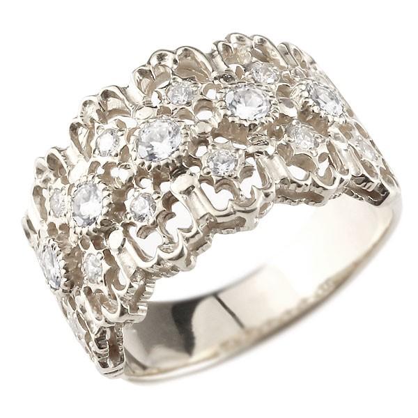 [送料無料] 幅広 ダイヤモンド リング 婚約指輪 エンゲージリング アンティーク 透かし プラチナ リング 指輪 ダイヤモンドリング ダイヤ レディース【コンビニ受取対応商品】