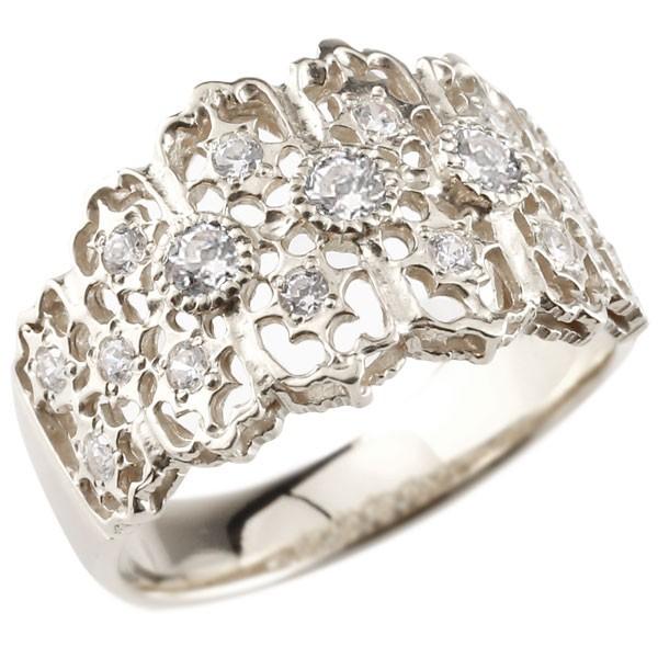 幅広 ダイヤモンドリング 豪華 ゴージャス 指輪 アンティーク 透かし ホワイトゴールドk18 18金 18k リング ダイヤモンド リング ダイヤモンドリング ダイヤ ピンキーリング レディース【コンビニ受取対応商品】 大きいサイズ対応 送料無料