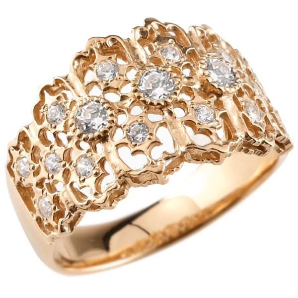 [送料無料] 幅広 ダイヤモンド リング 婚約指輪 エンゲージリング アンティーク 透かし ピンクゴールドk18 リング 指輪 ダイヤモンドリング ダイヤ 18金 18k レディース【コンビニ受取対応商品】