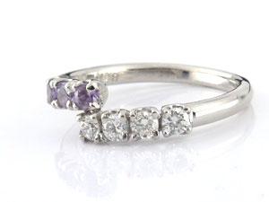 []アメジストリング ダイヤモンド リング プラチナリング 指輪 ダイヤ 2月誕生石【楽ギフ_包装】【コンビニ受取対応商品】