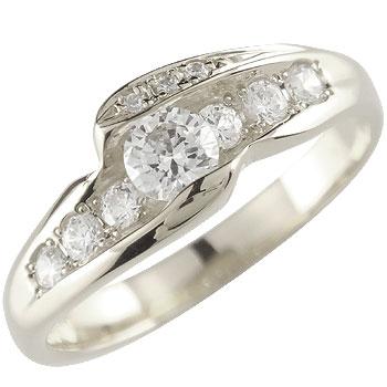 [送料無料]ダイヤモンドホワイトゴールドk18 リング 婚約指輪 エンゲージリング18k 18金【コンビニ受取対応商品】