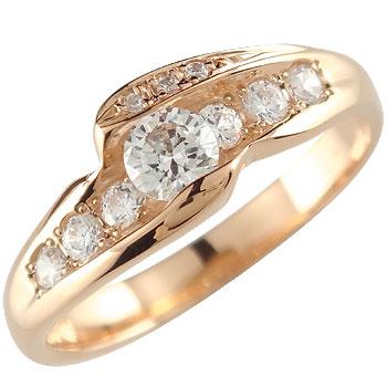 [送料無料]ダイヤモンド ピンクゴールドk18 リング 婚約指輪 エンゲージリング18k 18金【コンビニ受取対応商品】