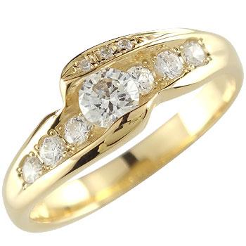 ダイヤモンド イエローゴールドk18 リング 婚約指輪 エンゲージリング18k 18金【コンビニ受取対応商品】 大きいサイズ対応 送料無料