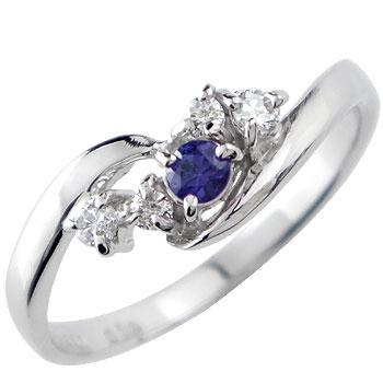指輪 サファイア ダイヤモンド プラチナ リング ピンキーリング 9月誕生石 上品なダイヤモンドリング【コンビニ受取対応商品】 大きいサイズ対応 送料無料