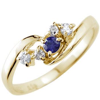 サファイア ダイヤモンド イエローゴールドk18 リング 指輪 ピンキーリング 9月誕生石18k 18金【コンビニ受取対応商品】 大きいサイズ対応 送料無料