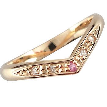 ピンクゴールドk18 ピンキーリング 指輪 ダイヤモンド ピンクサファイア ダイヤ 9月誕生石18k 18金【コンビニ受取対応商品】 大きいサイズ対応 送料無料