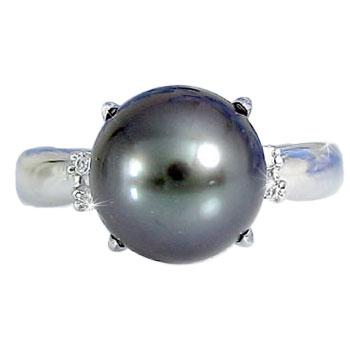 ブラックパールリング 黒真珠 パール ダイヤモンド プラチナ900 真珠指輪 プラチナリング ピンキーリング 6月誕生石 レディース【コンビニ受取対応商品】 大きいサイズ対応 送料無料