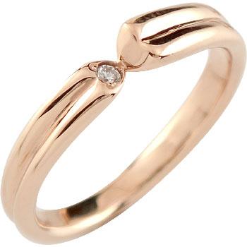 [送料無料]ダイヤモンド リング 一粒ダイヤモンド 婚約指輪 エンゲージリング ピンクゴールドk18 ハート18k 18金【コンビニ受取対応商品】