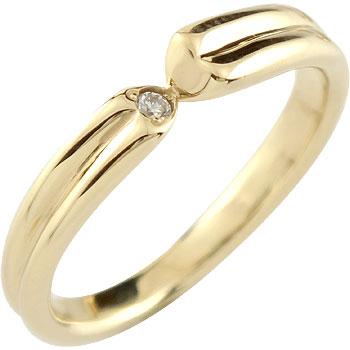 ダイヤモンド リング 一粒ダイヤモンド 婚約指輪 エンゲージリング イエローゴールドk18 ハート18k 18金【コンビニ受取対応商品】 大きいサイズ対応 送料無料