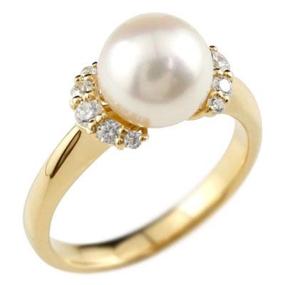 ゴールド 真珠 パール リング 指輪 イエローゴールドk18 18金 18k ダイヤモンド リング ピンキーリング 本真珠 小粒ダイヤ レディース【コンビニ受取対応商品】 大きいサイズ対応 送料無料