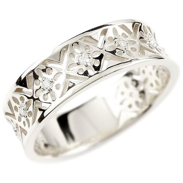 透かし リング 指輪 18金 18k ホワイトゴールドk18 ダイヤモンド ピンキーリング アンティーク サムリング レディース【コンビニ受取対応商品】 大きいサイズ対応 送料無料