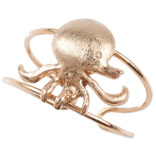 [送料無料]トゥリング ピンクゴールドk18 オクトパス タコ たこ 足の指輪 地金リング 宝石なし フリーサイズ 18k 18金 足指リング トウリング マリンジュエリー ピンキーとしてもOK ファランジリングとしても【コンビニ受取対応商品】