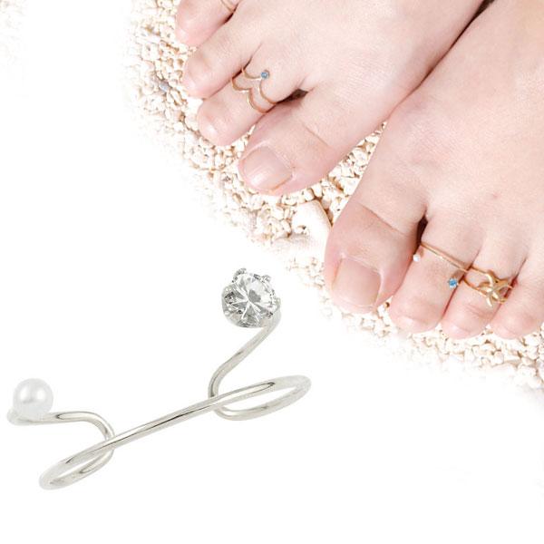 トゥリング ホワイトゴールドk18 足の指輪 足指リング フリーサイズリング ベビーパール ダイヤモンド ファランジリング ピンキーとしてもOK 18k 18金 4月誕生石 レディース【コンビニ受取対応商品】 クリスマス 大きいサイズ対応
