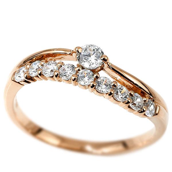 [送料無料]ウェーブ リング ダイヤモンド リング 指輪 ピンクゴールドk18 18金 18k ハーフエタニティ 2連リング ダイヤモンド 4月誕生石 ピンキーリング レディース【コンビニ受取対応商品】 大きいサイズ対応 送料無料