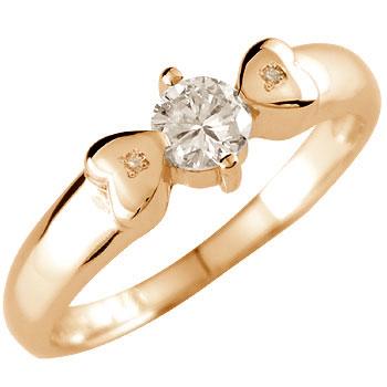 ダイヤモンド 指輪 リング ピンキーリング リボン エンゲージリング 一粒 大粒 ピンクゴールドk18 レディース18k 18金【コンビニ受取対応商品】 大きいサイズ対応 送料無料