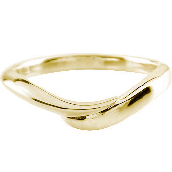 イエローゴールドk18 リング 指輪 ピンキーリング シンプル V字 地金リング 宝石なし 18k 18金 レディース【コンビニ受取対応商品】 大きいサイズ対応 送料無料
