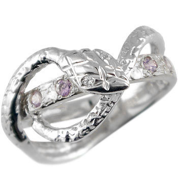 蛇 ホワイトゴールドk18 リング アメジスト ダイヤモンド スネーク 指輪 2月誕生石 レディース メンズ18k 18金【コンビニ受取対応商品】 大きいサイズ対応 送料無料