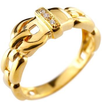 ダイヤモンド リング ベルト バックル デザイン 指輪 ピンキーリング イエローゴールドk18 メンズ レディース18k 18金【コンビニ受取対応商品】 大きいサイズ対応 送料無料