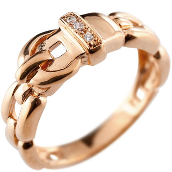 ダイヤモンド リング ベルト バックル デザイン 指輪 ピンキーリング ピンクゴールドk18 メンズ レディース18k 18金【コンビニ受取対応商品】 大きいサイズ対応 送料無料
