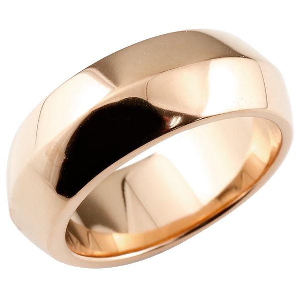 メンズジュエリー ピンクゴールドk18 18金 リング 幅広 指輪 メンズピンキーリング 男性用 地金リング 宝石なし メンズ レディース【コンビニ受取対応商品】 大きいサイズ対応 送料無料