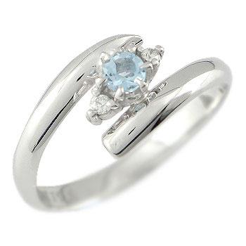 指輪 アクアマリンリング ピンキーリング ダイヤモンド ホワイトゴールドk18K 18wg ダイヤ 3月誕生石18k 18金【コンビニ受取対応商品】 大きいサイズ対応 送料無料