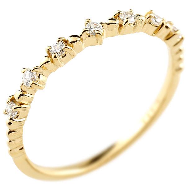 イエローゴールドk18 ダイヤモンドリング ダイヤ シンプル ピンキーリング 指輪 華奢リング 重ね付け 指輪 細め 細身 18金 アンティーク ティアラ 重ねづけ リング レディース【コンビニ受取対応商品】 大きいサイズ対応 送料無料