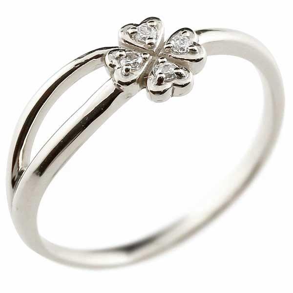 クローバー 四葉 プラチナリング ダイヤモンド ダイヤ シンプル ピンキーリング 指輪 華奢リング 重ね付け 指輪 細め 細身 pt900 アンティーク 重ねづけ リング サムリング レディース【コンビニ受取対応商品】 大きいサイズ対応 送料無料