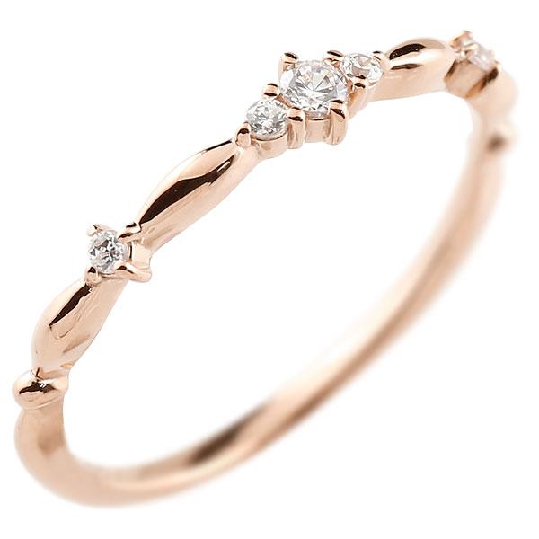 ダイヤモンドリング ダイヤ ピンクゴールドk18 シンプル ピンキーリング 指輪 華奢リング 重ね付け 指輪 細め 細身 18金 アンティーク ティアラ 重ねづけ リング レディース【コンビニ受取対応商品】 大きいサイズ対応 送料無料